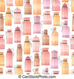 型, seamless, 手ざわり, bottles., デザイン, パターン, 小さい, あなたの, 無限