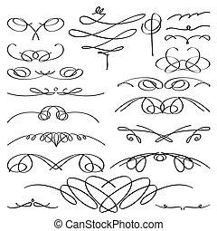 型, set., ビネット, calligraphic, ベクトル, collection.