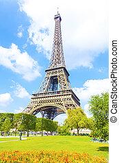 埃菲爾鐵塔, 以及藍色, 天空