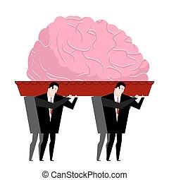 埋葬, 運ばれた, 葬式, 心, brain., coffin., 反射