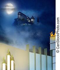城堡, 上, a, 小山