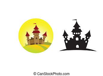 城堡, 上, the, 小山