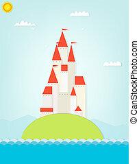 城堡, 上, the, hill., cutout, 插圖