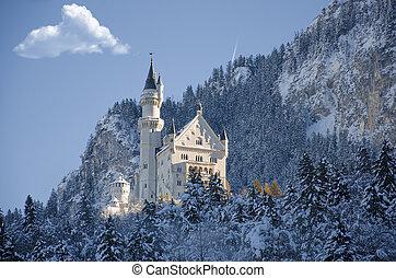 城堡, 看法, fussen, 冬天