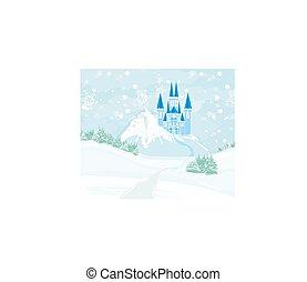 城堡, fairytale, 風景, 冬天小山