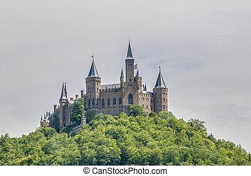 城堡, hohenzollern, 德国, baden-wurttemberg