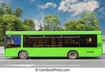 城市公共汽車, 行動, 下來, the, 街道