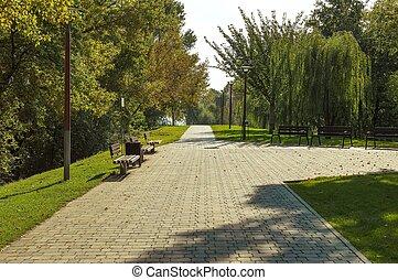 城市公園, 風景, 在, 秋天