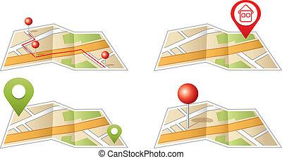 城市地圖, 由于, gps, icons.