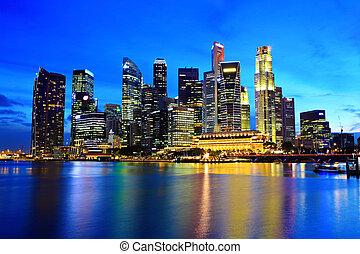 城市地平線, 新加坡, 夜晚