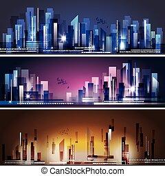 城市地平線, 現代, 夜晚