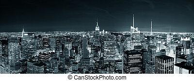 城市地平線, 約克, 夜晚, 新, 曼哈頓