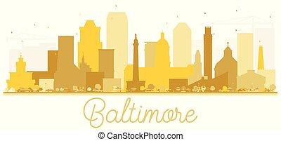 城市地平線, 黃金, 巴爾的摩, silhouette.