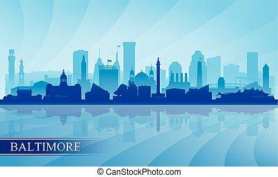 城市地平線, 黑色半面畫像, 巴爾的摩, 背景