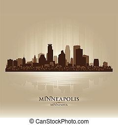 城市地平線, 黑色半面畫像, 明尼蘇達, minneapolis