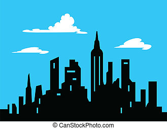 城市地平线, 图表, 风格, 卡通漫画