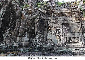 城市牆, 古老, 複雜, angkor