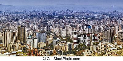城市觀點, ......的, 德黑蘭, 由于, 多故事, 房子, 以及, 公眾, parks.