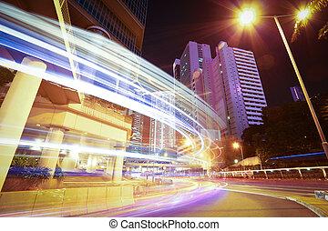城市道路, 轻形迹, 在中, 现代, 里程碑, 建筑物, 背景, 在中, hongkong