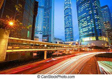 城市道路, 隧道, 轻形迹, 在中, 现代, 里程碑, 建筑物, 背景, 在中, hongkong