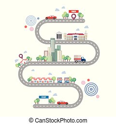 城市道路, infographic, 樣板