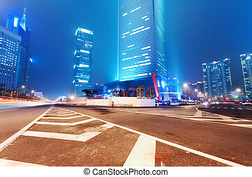 城市, 上海, 財政, 區域, &, lujiazui, 現代, 貿易, 背景, 夜晚