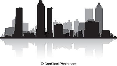 城市, 亞特蘭大, 黑色半面畫像, 地平線