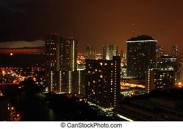 城市, 區域, 夏威夷, 市區, 夜晚, 檀香山