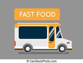 城市, 卡車, 元素, 比薩餅, 食物, 汽車, 廚房, 被隔离, 快, 食物, 流動, 熱, 街道, 設計, 白色,...