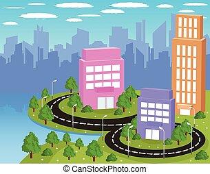 城市, 卡通, 鮮艷