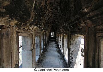 城市, 古代毀滅, -, 柬埔寨, 牆壁, siem, 首都, 複雜, 收割, angkor