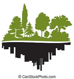 城市, 同时,, 森林