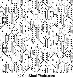 城市, 圖案, 重复, seamless, 黑色, 白色, texture.