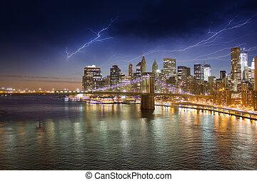 城市, 在上方, 布魯克林, 約克, 風暴, 夜晚, 新, 橋梁