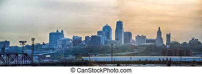 城市, 地平線, 堪薩斯, 日出