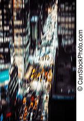 城市, 夜晚, 电灯, 约克, 新, 照明