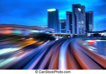 城市, 夜晚, traffics.