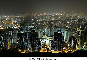 城市, 夜间, 察看, 从, 山
