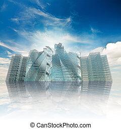 城市, 天空, 反映, 多云