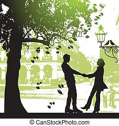 城市, 夫妇, 公园, 树, 在下面