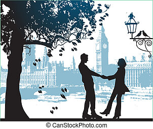 城市, 夫婦, 公園, 樹, 在下面