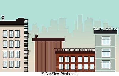 城市, 套間, 插圖, 矢量, 卡通, 風景