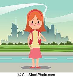 城市, 學生, 王冠, 袋子, 背景, 女孩