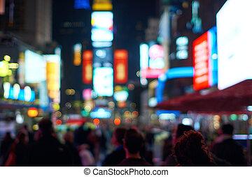 城市, 廣場, 時代, 光, 約克, 迷離, 新, defocused