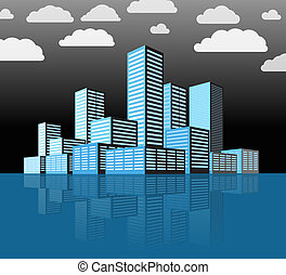 城市, 建筑物, 現代, district., 遠景