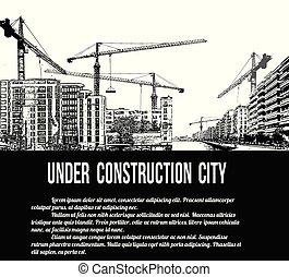 城市, 建設, 概念, 在下面