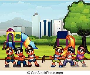 城市, 戰爭, 公園, 孩子, 拖船, 玩, 愉快