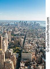 城市, 摩天樓, 全景, 約克, 新, 高