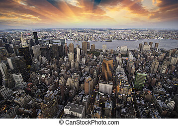 城市, 摩天樓, 在上方, 傍晚, 約克, 新
