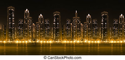 城市, 摩天樓, 現代, hight, 地平線, 照明